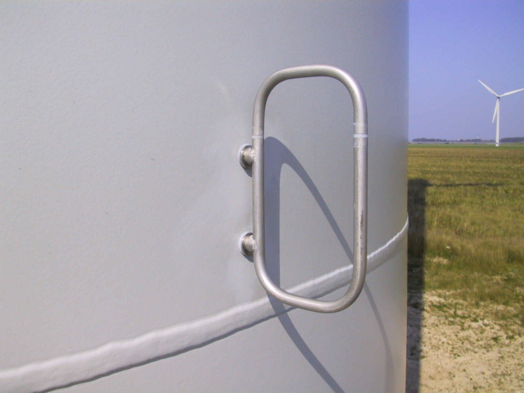 Loop antenna used for lightning detection mounted on a wind turbine.